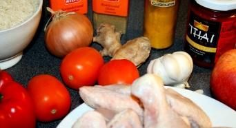 Ingrediënten voor mijn Kip Madras