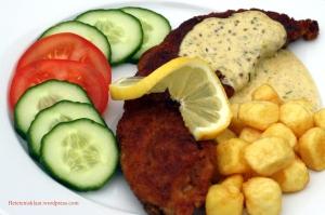 schnitzel met mosterdroomsaus