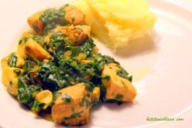 kip met groene peper en wilde spinazie