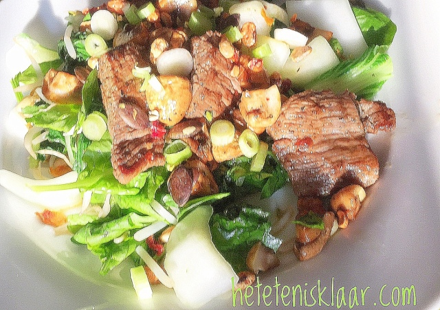 biefstuk en champignons teriyaki